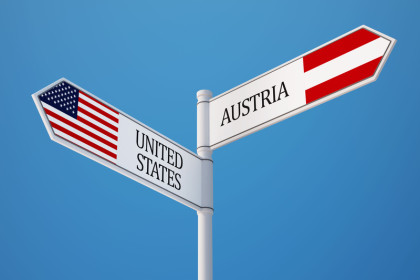 © United States Austria High Resolution Sign Flags Concept