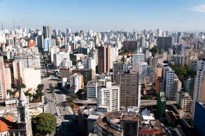 © Aerial view of the city of sao paulo region avenue consolation