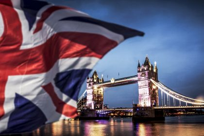 ©brexit concept - double exposure of Tower bridge and flags